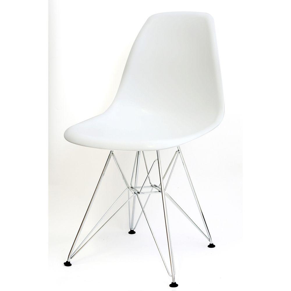 banco de jardim leme tramontina branca:Cadeira Eames Polipropileno Branco Fosco Base Cromada – 9521
