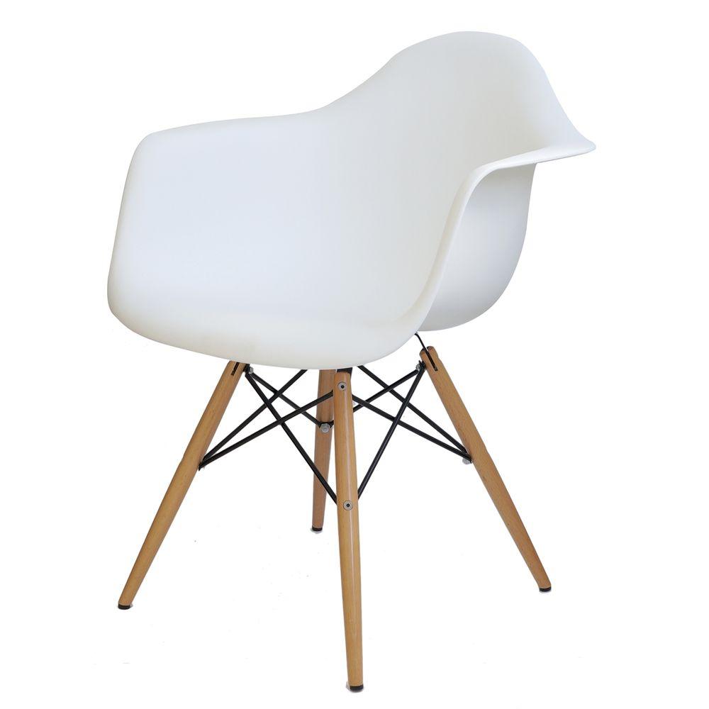 banco de jardim leme tramontina branca:Cadeira Eames com Braco Base Madeira Branco Fosco – 15206 – SunHouse