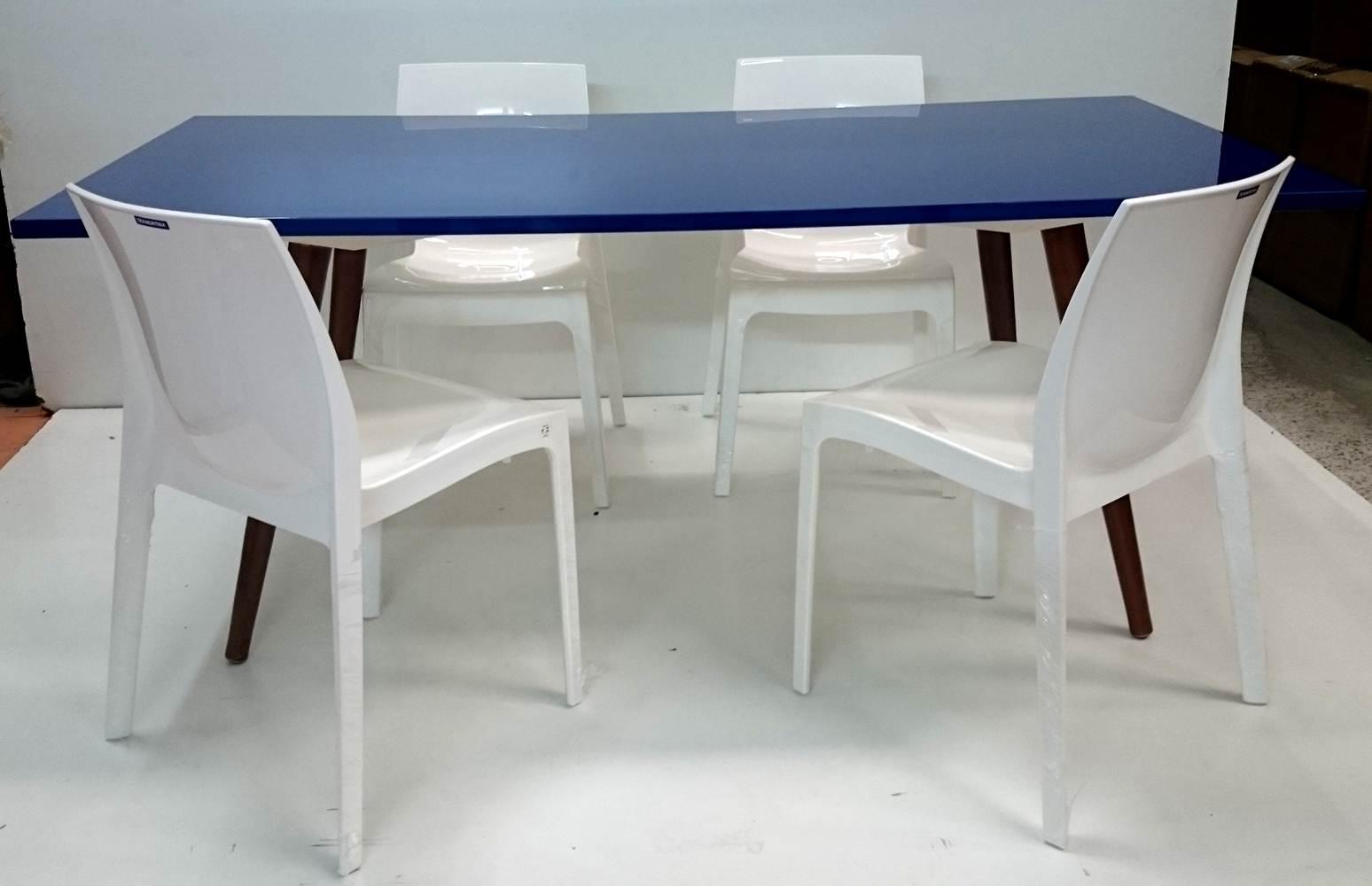 Mesa de Jantar Laccato Retangular Cor Azul Bic 180cm - 29527 Sun House
