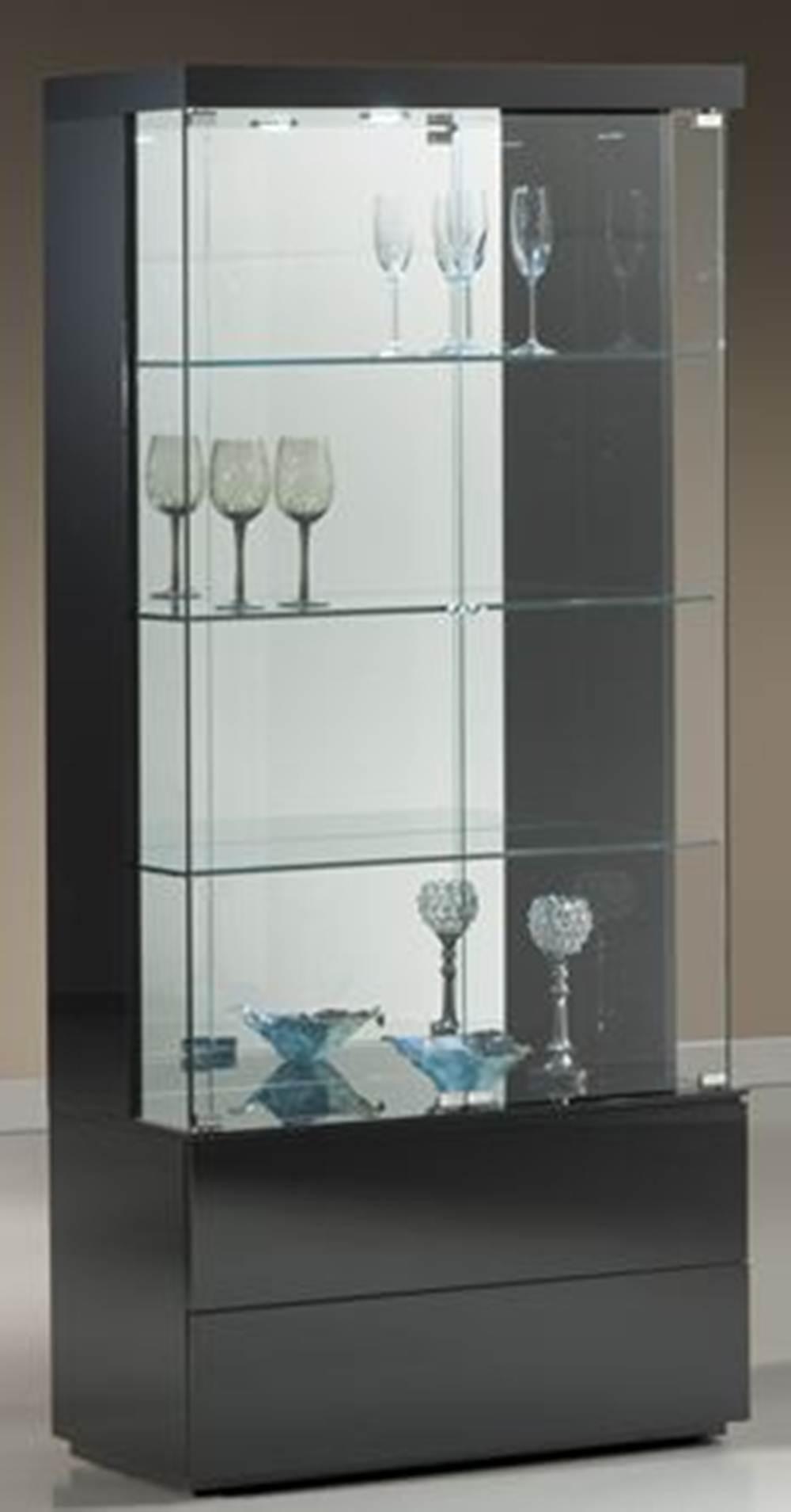 Cristaleira Square Laca Preta Brilho 90 cm - 32401 Sun House