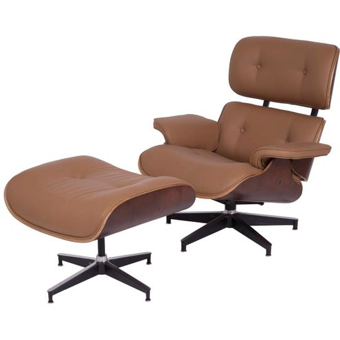 Poltrona Charles Eames c/ Puff Couro Ecolog