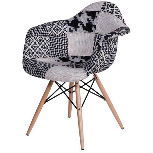 Cadeira Charles Eames Patchwork Black Base Madeira -