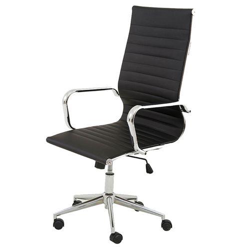 Cadeira-Sevilha-Eames-Alta-PU-Preto-Base-Cromada