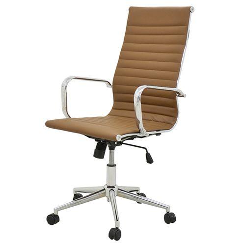 Cadeira-Sevilha-Eames-Alta-PU-Marrom-Base-Cromada