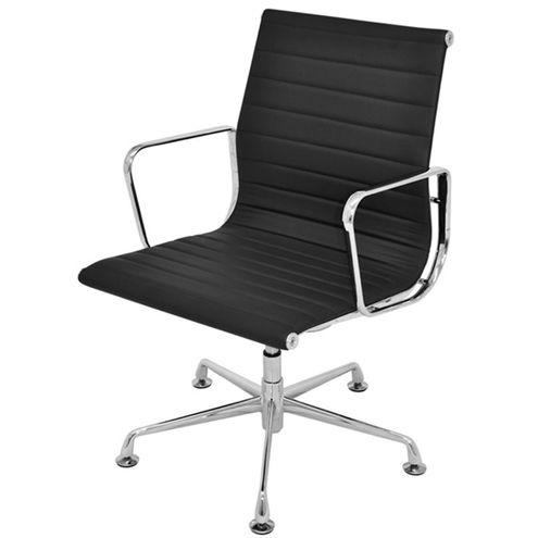 Cadeira-Office-Madrid-Fixa-PU-Preto-Base-Aluminio