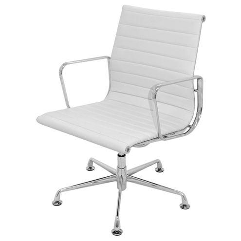 Cadeira-Office-Madrid-Fixa-PU-Branco-Base-Aluminio
