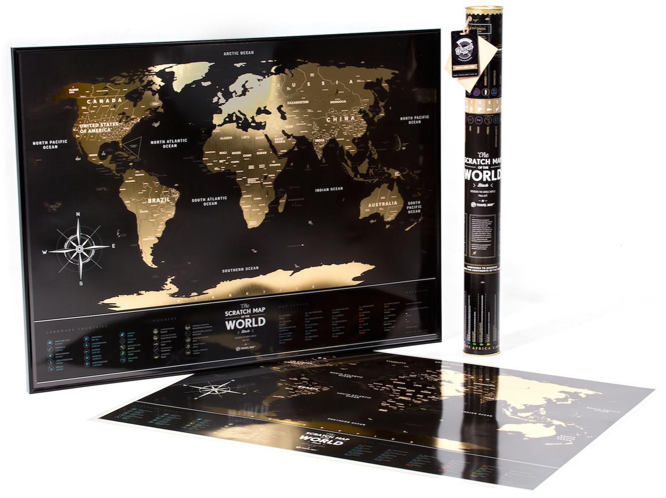 Mapa Mundi de Viagens Raspavel Black & Gold World ( Dourado ) - 39312 Sun House
