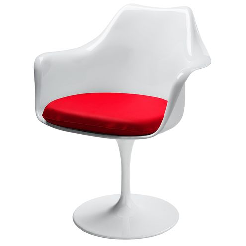 Cadeira-Saarinen-com-Braco-Almofada-PU-Vermelha-Base-Branca