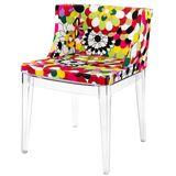 Cadeira-Mademoiselle-Estampa-Floral-Gerberas-Base-Transparente