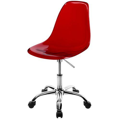Cadeira-DKR-Eames-Policarbonato-Vermelho-Base-Cromada-Rodizios