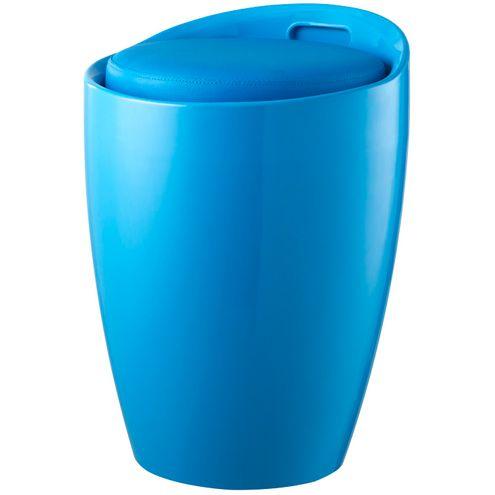 Tamborete-Belem-do-Para-em-ABS-Assento-PU-Cor-Azul-
