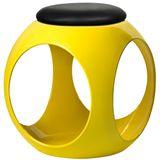 Puff-Esfera-em-ABS-Assento-PU-Cor-Amarelo