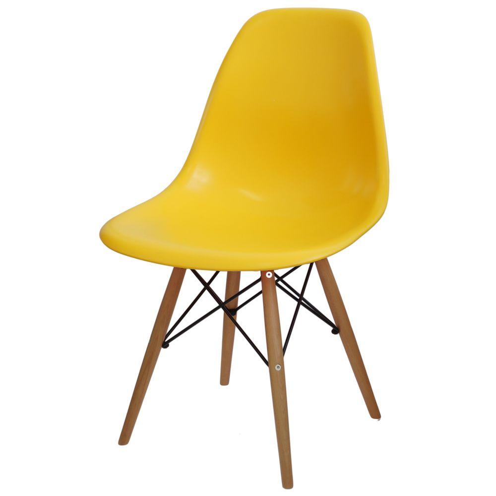Cadeira Eames Polipropileno Amarelo Fosco Base Madeira 14911