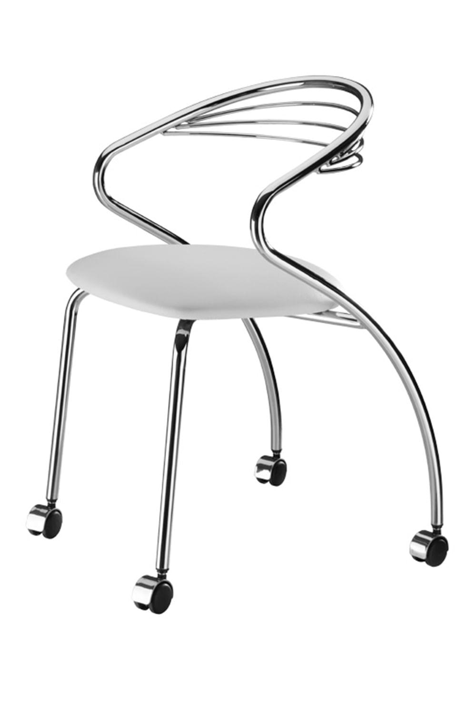 Cadeira Angola Cromada com Rodizios Corino Branco 8832