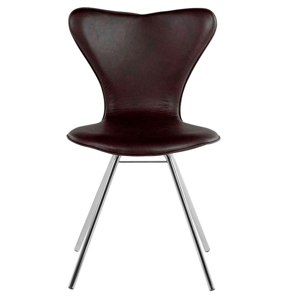 Cadeira Jacobsen Cromada Corino Marrom - 16506