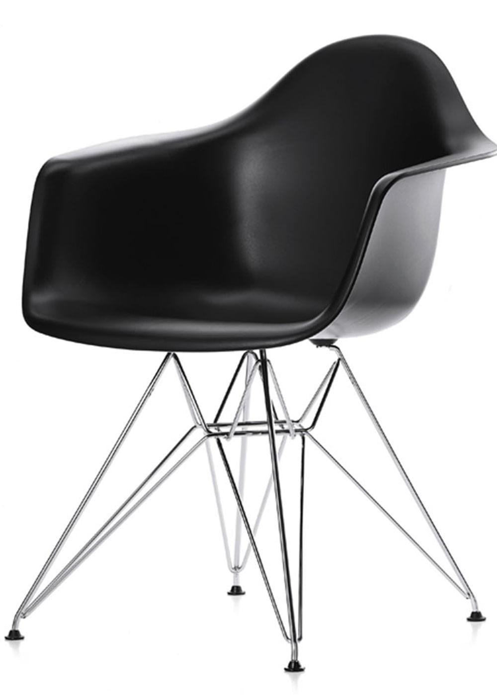 Cadeira Eames com Braco Base Cromada Preto Fosco - 16532