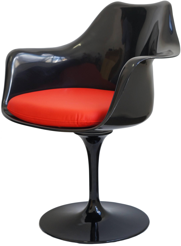 Cadeira Saarinen Preta com Braco (Almofada Vermelha) -15052