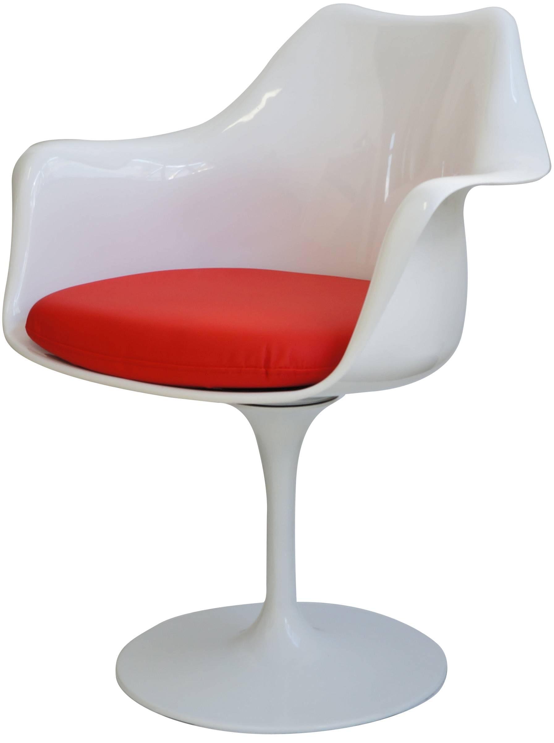 Cadeira Saarinen Branco com Braco (Almofada Vermelha) -15055