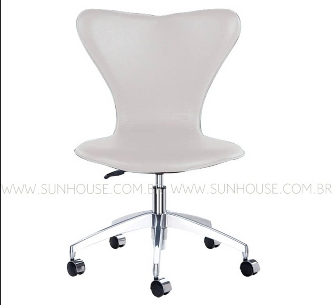 Cadeira Jacobsen Alumino Polido Branco - 12408