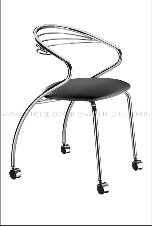 Cadeira Angola Cromada com Rodizios Corino Preto - 17604