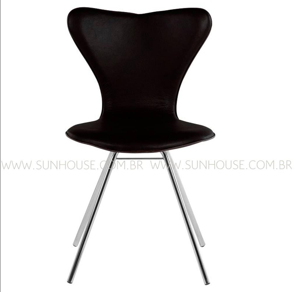 Cadeira Jacobsen Cromada Corino Preto - 12347