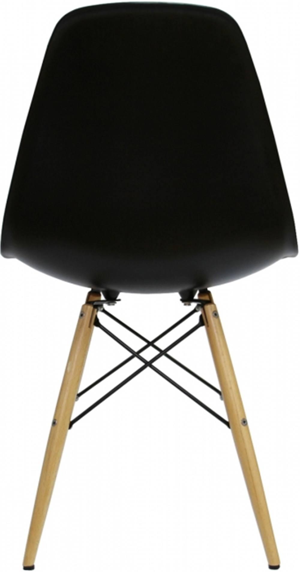 Cadeira Eames Polipropileno Preto Base Madeira - 10425