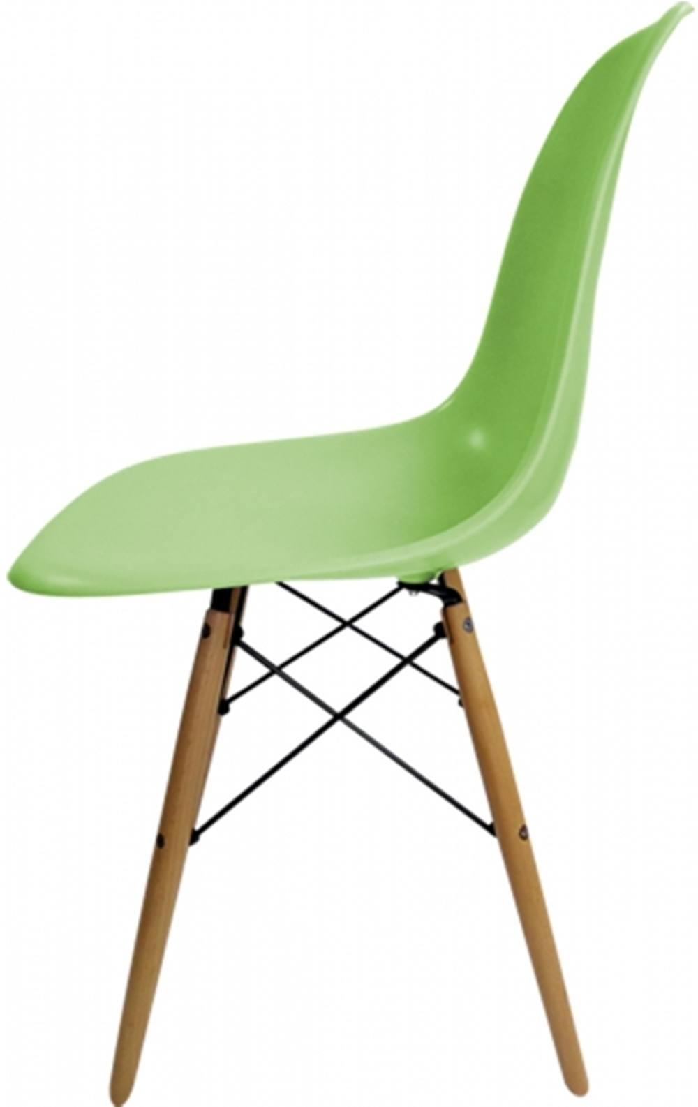Cadeira Eames Polipropileno Verde Base Madeira - 15205