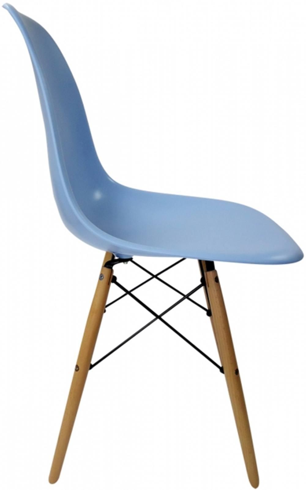 Cadeira Eames Polipropileno Azul Claro Base Madeira - 14913
