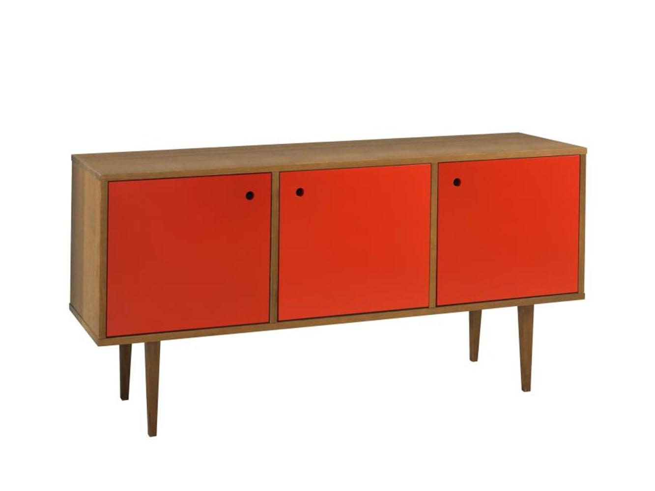 Buffet Vintage Com 3 Portas Amendoa/Vermelho - 13111