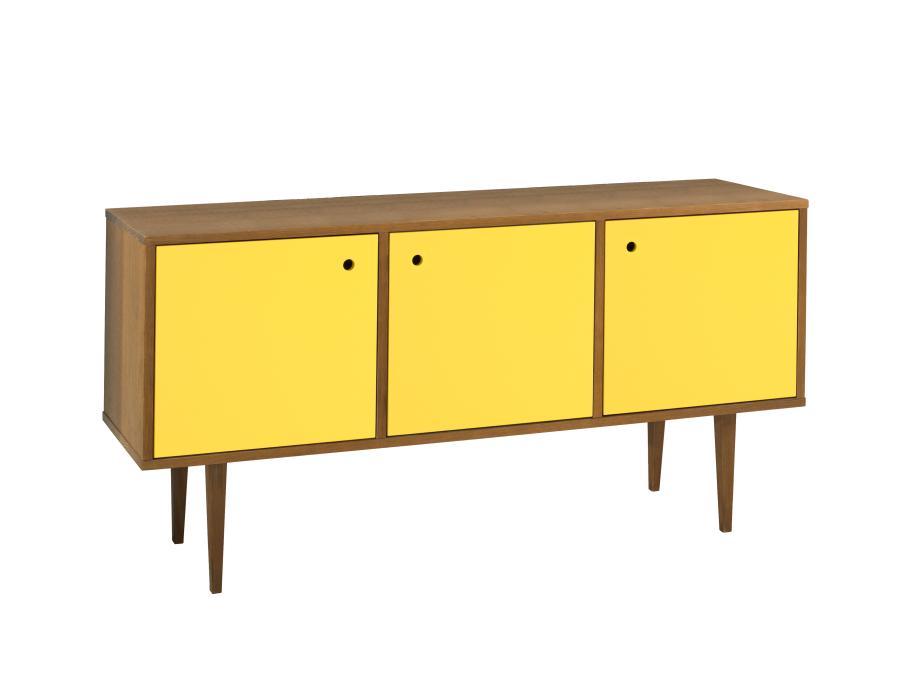 Buffet Vintage Com 3 Portas Cor Amendoa/Amarelo - 17938