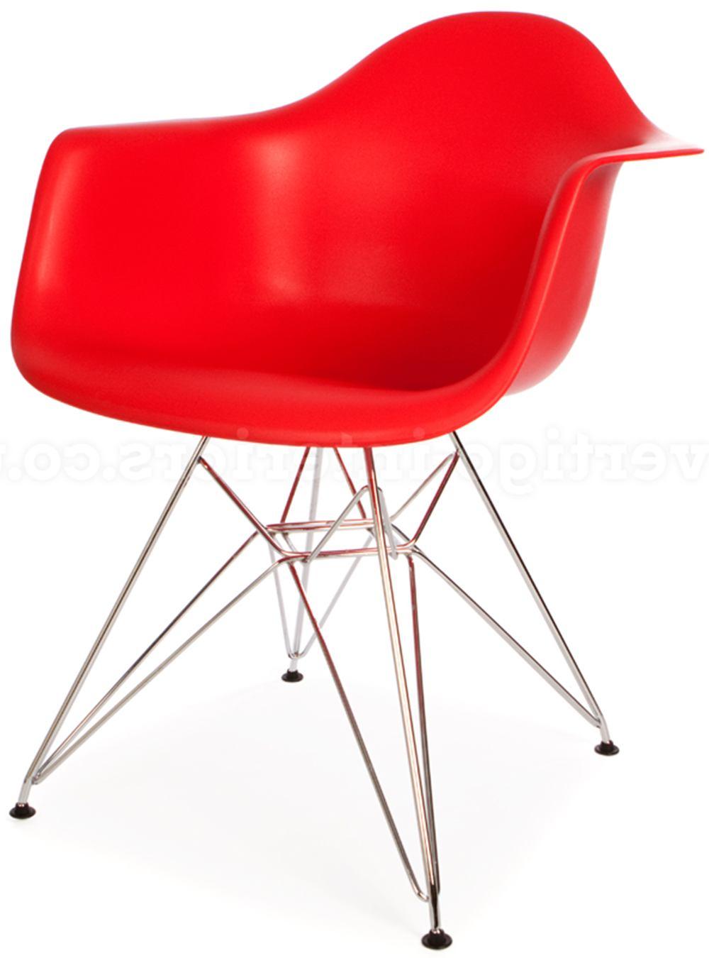 Cadeira Eames com Braco Cromada Vermelho Fosco - 18186