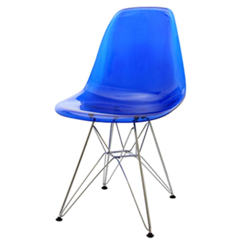 Cadeira Eames Policarbonato Azul Base Cromada 18683 Sunhouse -> Cadeiras Acrilico Azul Turquesa