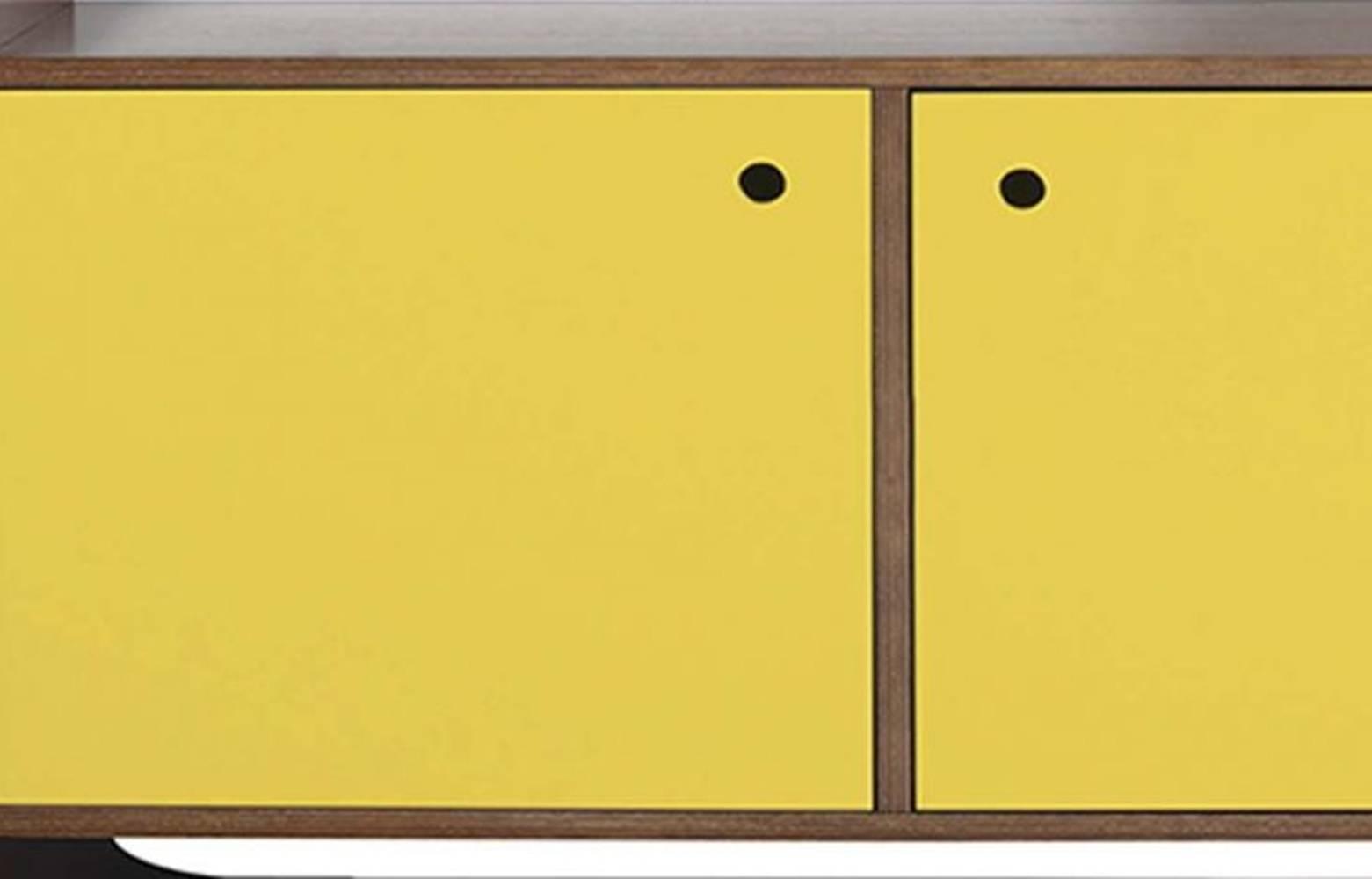 Buffet Dylan C/ 3 Portas Madeira Cor Cacau/Amarelo - 18027