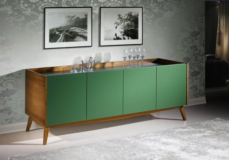 Buffet Novita Amendoa/Branco Portas Laca Verde Escuro- 19698