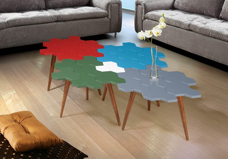 Mesa de Centro Colmeia Com Favos Cacau/Vermelho - 21851