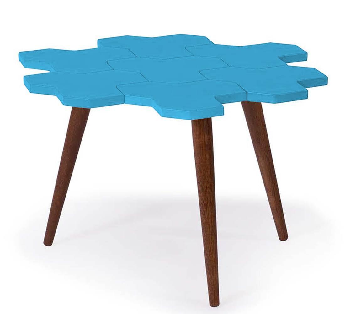 Mesa de Centro Colmeia Com Favos Cacau/Azul - 18039