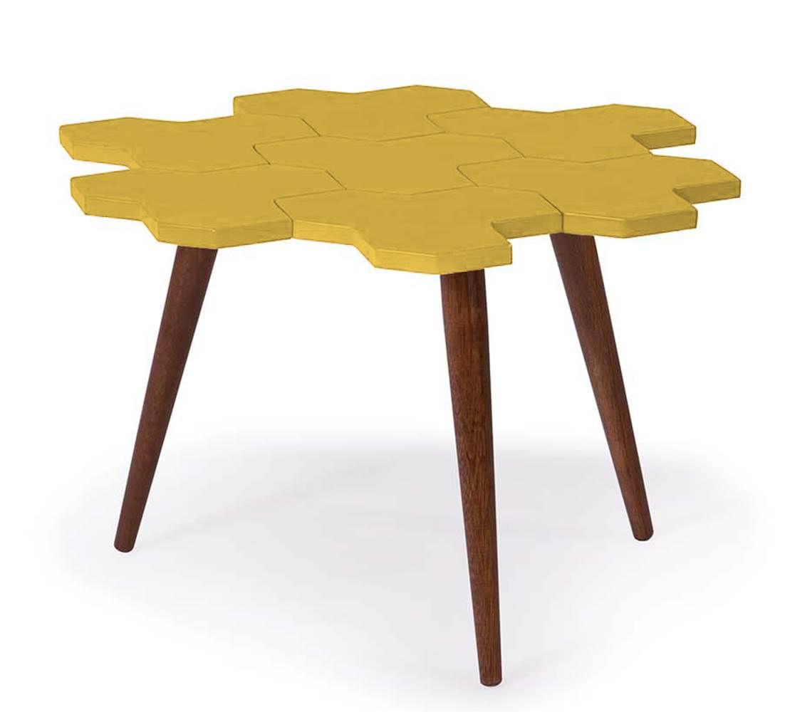 Mesa de Centro Colmeia C/ Favos Cacau/Amarelo -18202