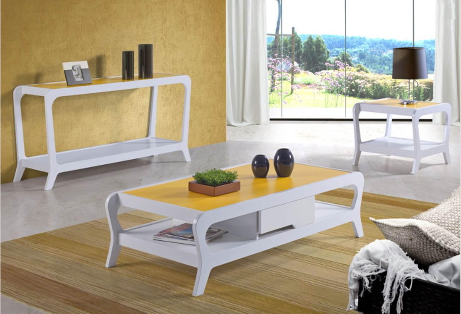 Mesa Lateral Marley 493-0 Acabamento Branco/Amarelo - 21977