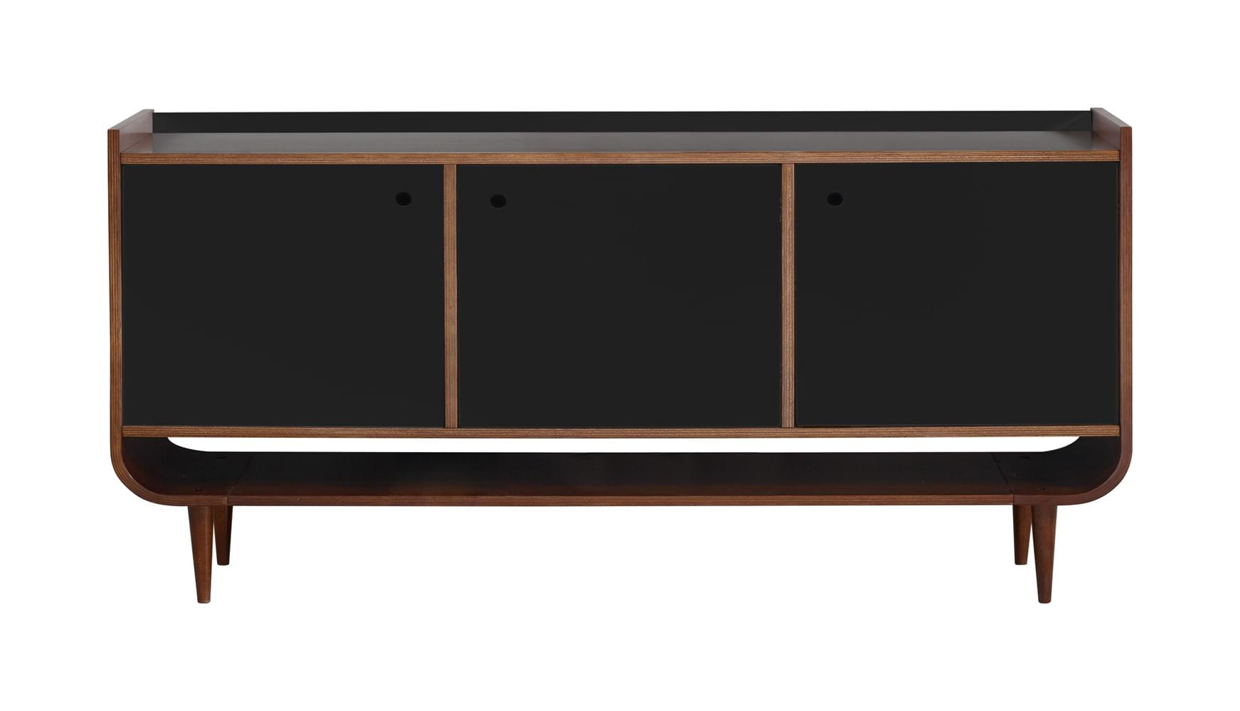 Buffet Dylan C/ 3 Portas Madeira Cor Cacau/Preto - 22483