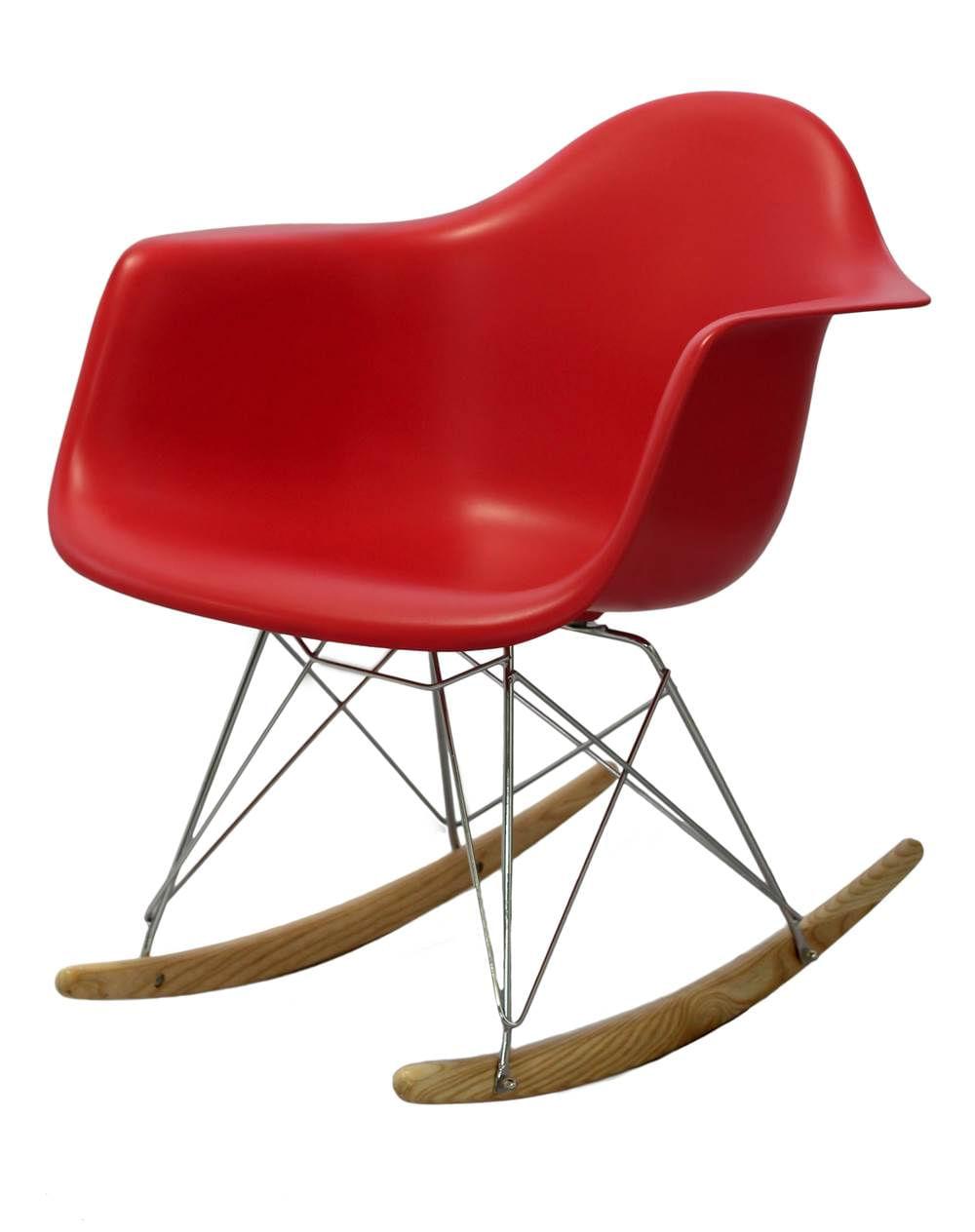 Cadeira Eames com Braco Base Balanco Vermelho Fosco - 24502