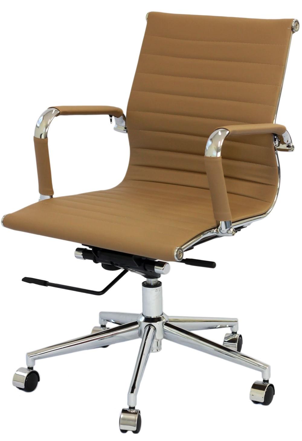 Cadeira Eames Baixa Caramelo Base Cromada - 25387