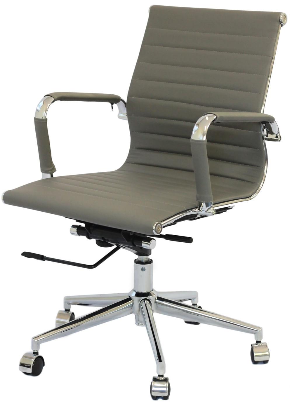 Cadeira Eames Baixa Cinza Base Cromada - 27107
