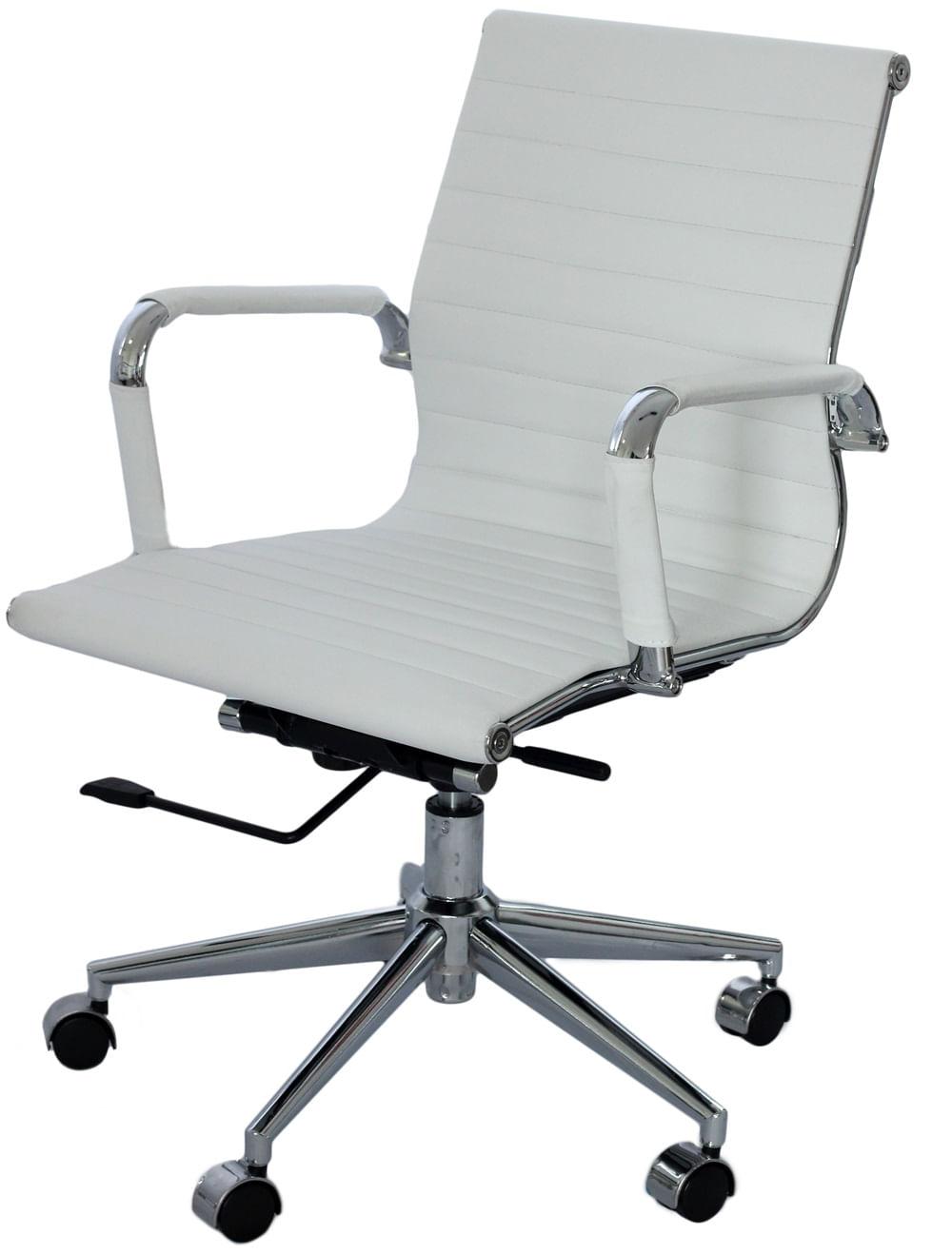 Cadeira Eames Baixa Branca Base Cromada - 15120