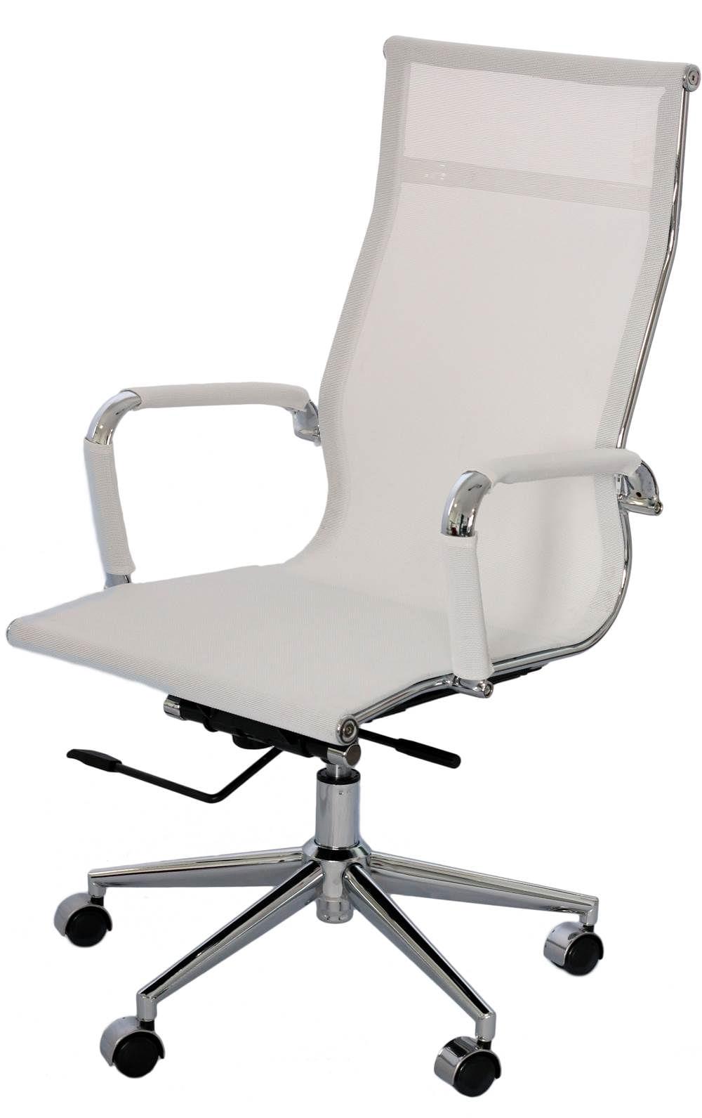 Cadeira Eames Telinha Alta Branca Cromada - 16791