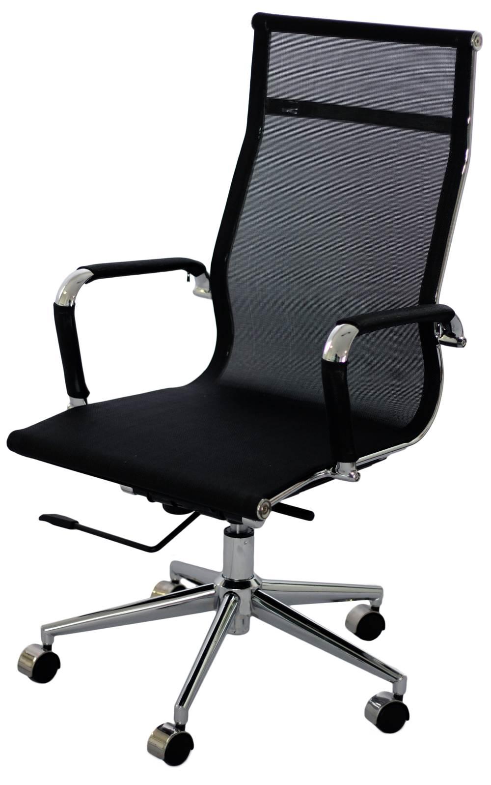 Cadeira Eames Telinha Alta Preta Cromada - 15202
