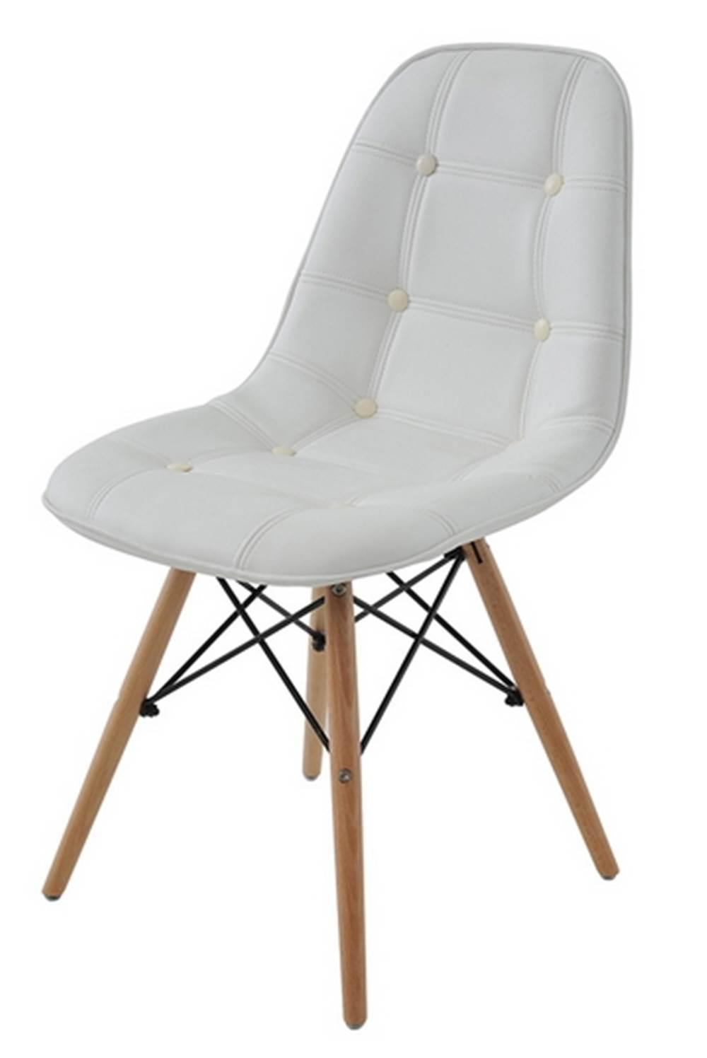 Cadeira Eames Eiffel Botone Branca Base Madeira - 27021