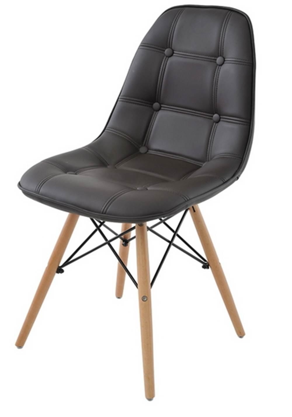 Cadeira Eames Eiffel Botone Marrom Base Madeira - 28350