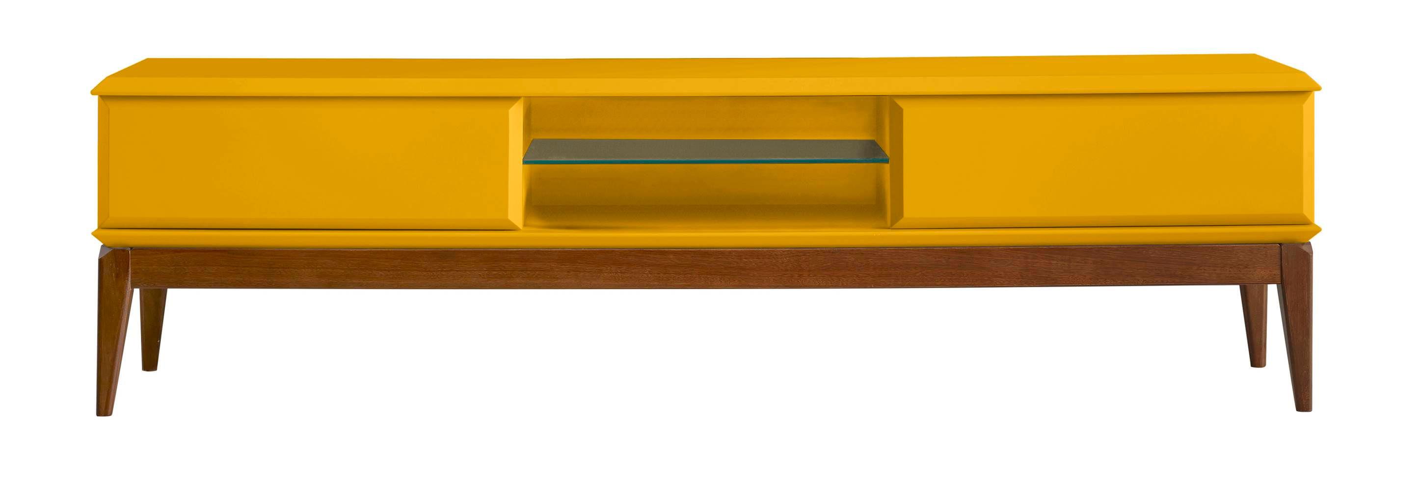 Rack Ravel 2 Gavetas Cor Cacau Com Amarelo - 27628