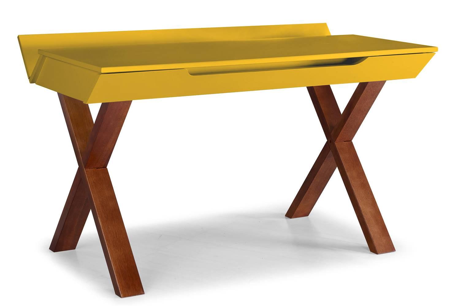 Escrivaninha Studio Cor Cacau Com Amarelo - 28939