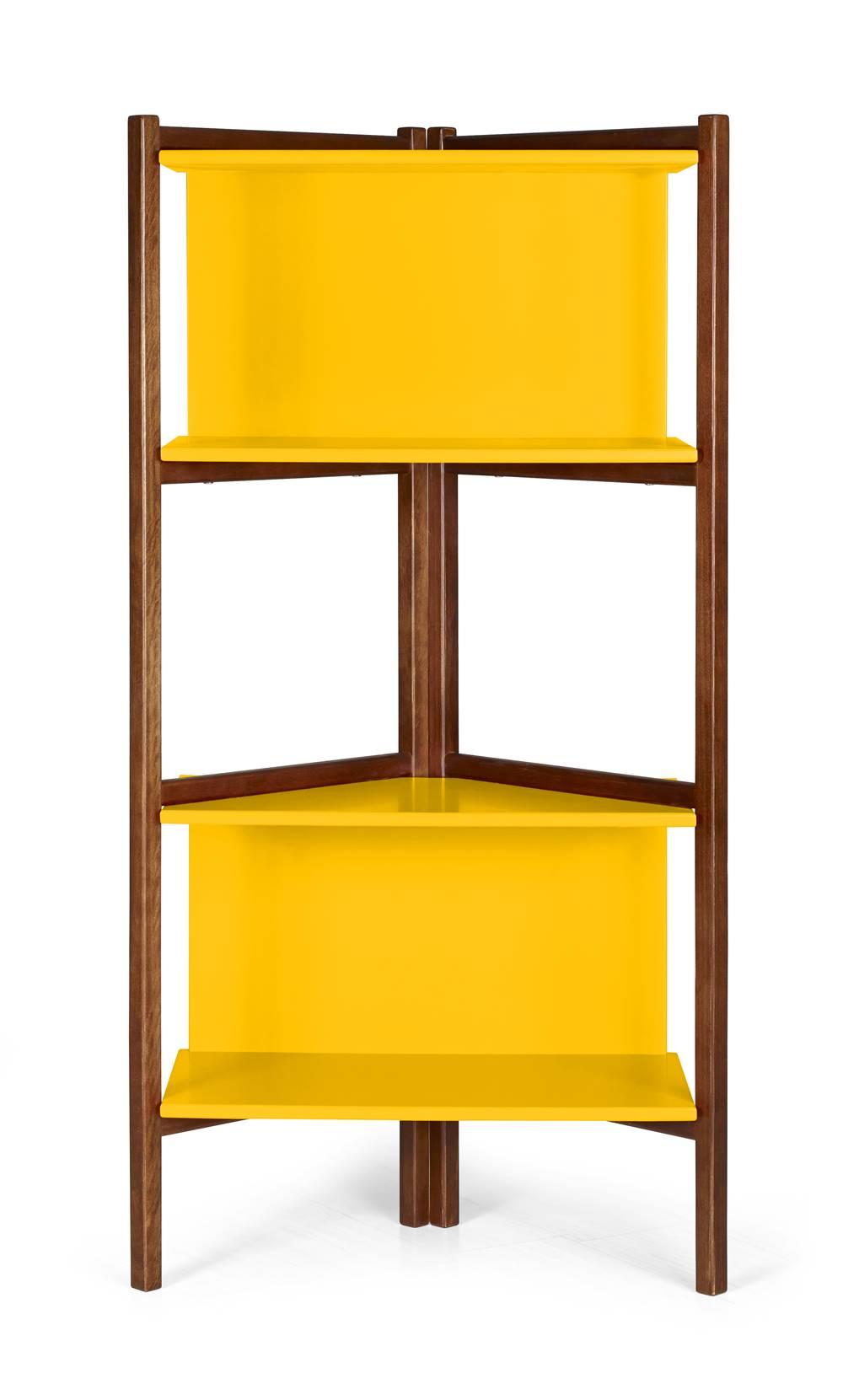 Estante Easy Cor Cacau Com Amarelo - 28989